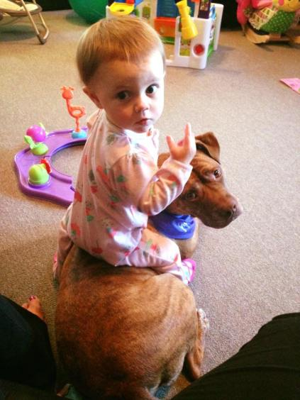 "Kadybug Leading the Charge on her ""horse"", Lucky!"